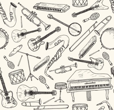 Poster Hand drawn musical instruments.