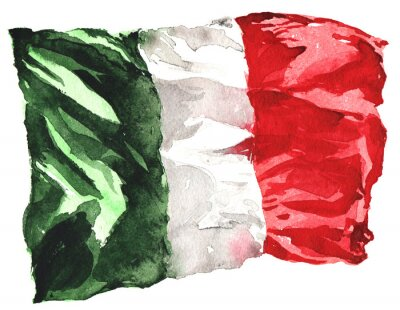 Poster hand-drawn watercolor flag of Italy - a realistic , fluttering i