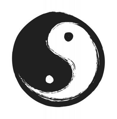 Poster hand drawn ying yang symbol of harmony and balance, design element