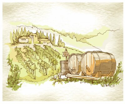 Poster Hand made sketch grape fields and vineyards.