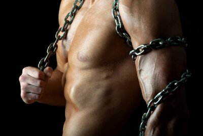 Poster Handsome and muscular guy with chain