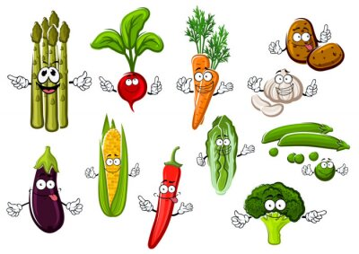 Poster Happy farm vegetables cartoon characters