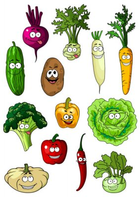 Poster Happy smiling fresh garden vegetables
