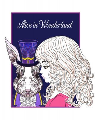 Poster Hare or rabbit in the hat from the fairy tale Alice in Wonderla
