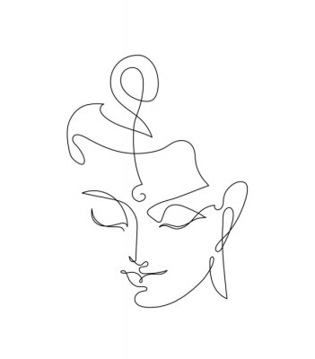 Poster Head Smiling Buddha. Linart drawings.
