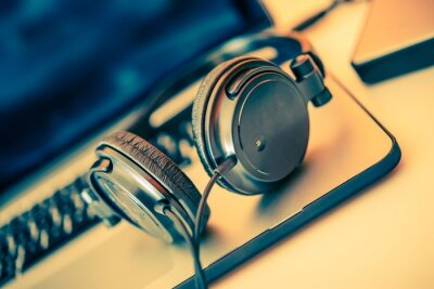 Poster Headphones on Laptop