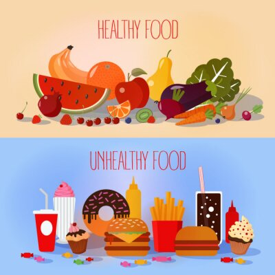 Poster Healthy Food and Unhealthy Fast Food