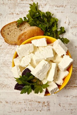 Poster  healthy food. cottage cheese and bread on a white wooden background