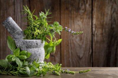 Poster herbs in mortar