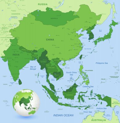 Poster High detail vector map of far east Asia