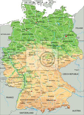 High Detailed Germany Physical Map With Labeling Posters For The