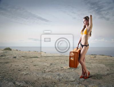 High heels at the beach