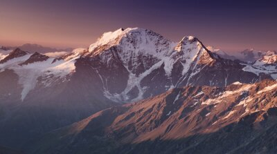 Poster High mountain in morning time. Beautiful natural landscape.