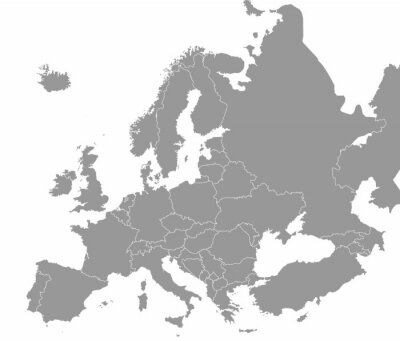 Poster High quality map Europe with borders of the regions