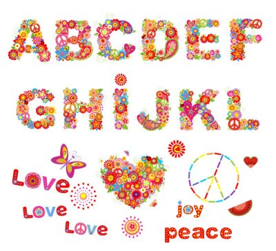 Poster Hippie floral alphabet with funny colorful flowers. Part 1