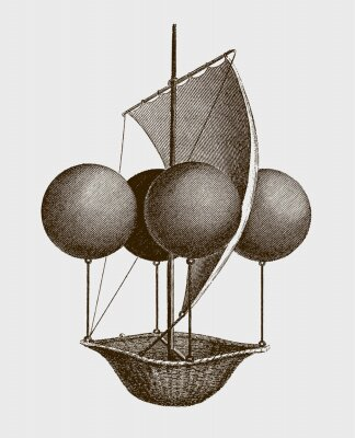 Poster Historic flying ship, an aeronautic machine by Francesco Lana Terzi from 1670. lllustration after an engraving from the early 19th century. Editable in layers