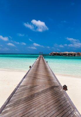 Poster Holzsteg zu der Lagune auf den Malediven