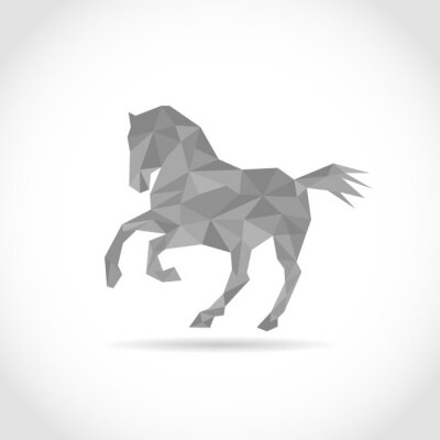 Poster horse in Polygon style. low poly design in triangles