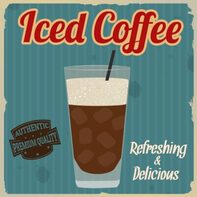 Poster Iced coffee retro poster
