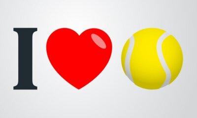 Poster Icono plano i love tenis color en fondo degradado
