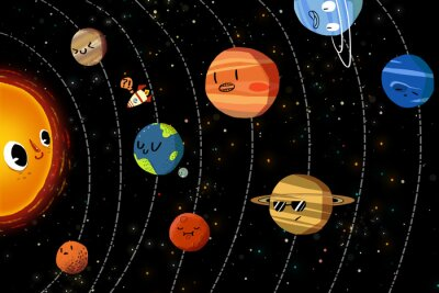 Poster Illustration for Children: The Happy Planets in Solar System. Realistic Fantastic Cartoon Style Artwork / Story / Scene / Wallpaper / Background / Card Design.
