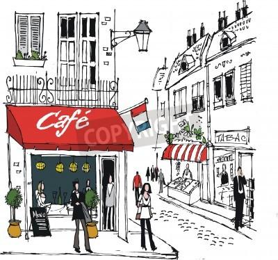 Poster illustration of French village cafe street scene