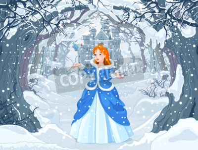 Poster Illustration of princess with bird close to Magic Winter Castle