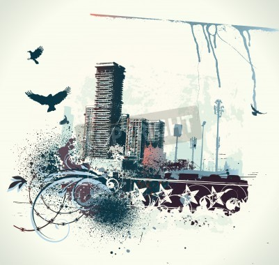 Poster illustration of urban background with grunge stained Design elements
