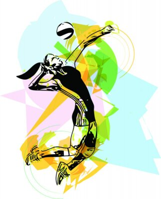 Poster Illustration of volleyball player playing