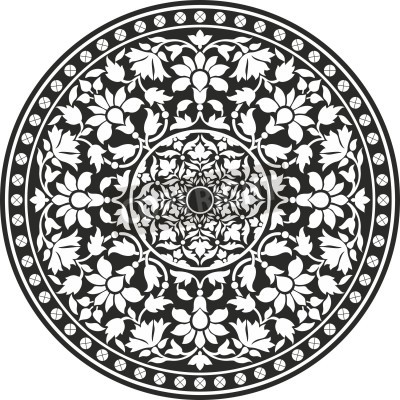 Poster Indian traditional pattern of black and white - flower mandala