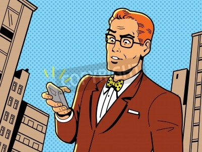 Poster Ironic Illustration of a Retro 1940s or 1950s Man With Glasses, Bow Tie and Modern Smartphone