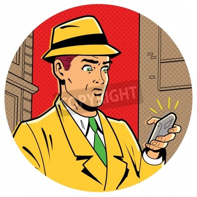 Poster Ironic Satirical Illustration of a Retro Classic Comics Man With a Fedora and a Modern Smartphone