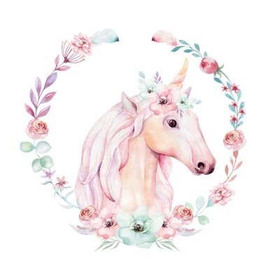 Poster Isolated cute watercolor unicorn clipart with flowers. Nursery unicorns illustration. Princess rainbow poster. Trendy pink cartoon pony horse.
