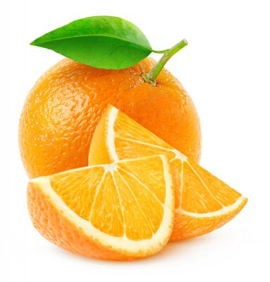 Poster Isolated orange fruit and slices
