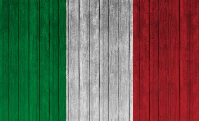 Poster italy flag on old wood background