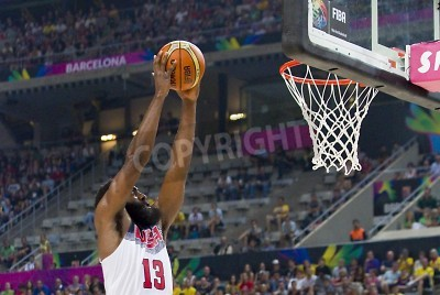Poster James Harden of USA in action at FIBA World Cup basketball match between USA Team and Lithuania, final score 96-68, on September 11, 2014, in Barcelona, Spain