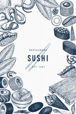 Poster Japanese cuisine banner template. Sushi hand drawn vector illustrations. Retro style asian food background.