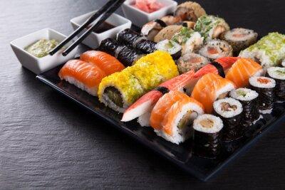Poster Japanese seafood sushi set