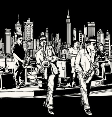 Poster Jazz band playing in New York