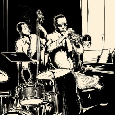 Poster Jazz band with double-bass trumpet piano and drum