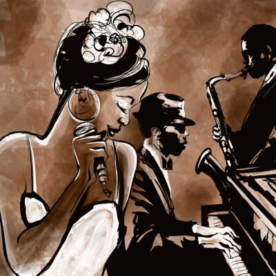 Poster Jazz band with singer, saxophone and piano - illustration