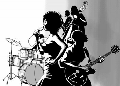 Poster Jazz singer with guitar saxophone and double-bass player