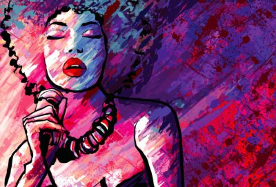 Poster Jazz singer with microphone on grunge background
