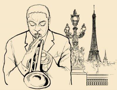 Poster jazz trumpeter on Alexander bridge in Paris (ink pen drawing)