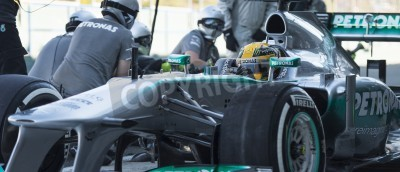 Poster JEREZ (Spain) - FEBRUARY 11th: Lewis Hamilton practicing PitStops with his new Mercedes team on the first Test at the Jerez Circuit, Andalucia Spain 2013.