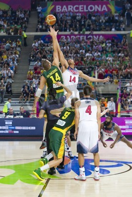 Poster Jonas Valanciunas and Anthony Davis in action at FIBA World Cup basketball match between USA Team and Lithuania, final score 96-68, on September 11, 2014, in Barcelona, Spain
