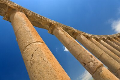 Poster Jordan. Jerash (the Roman ancient city of Geraza). Fragment of the Forum colonnade with capitals in Ionic order