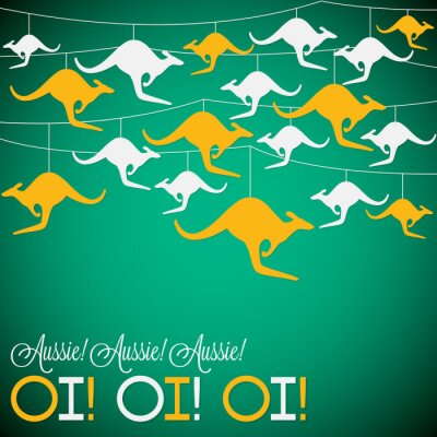 Poster Kangaroo ornament Australia day Card in vector format.