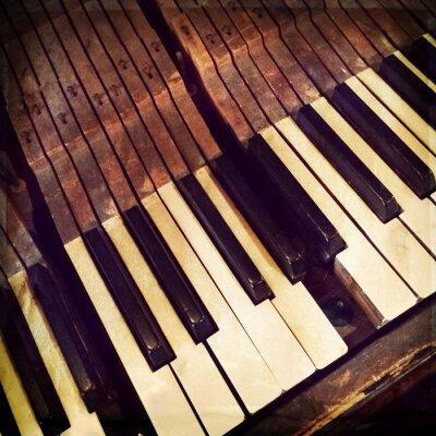 Poster Keys of a broken antique piano