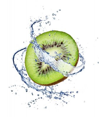 Poster Kiwi in water splash, isolated on white background